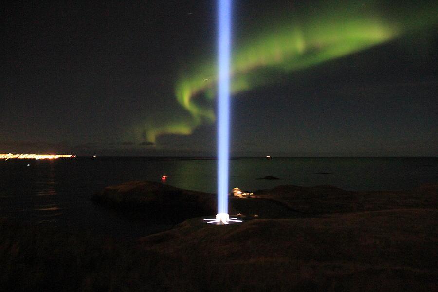 John Lennon Photograph - Imagine Tower Of John Lennon In Iceland by Andres Zoran Ivanovic