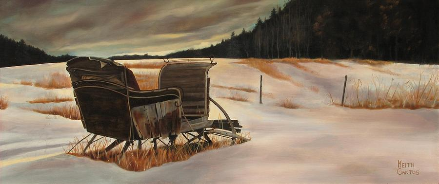 Old Sleigh Painting - Imaginery Sleigh Ride by Keith Gantos