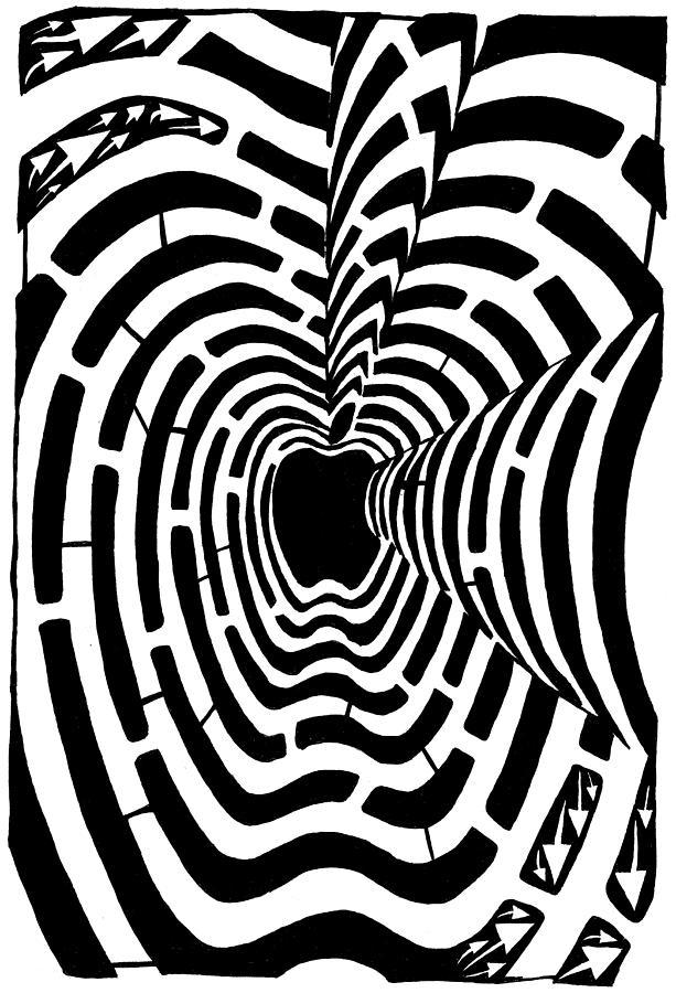Mazes Drawing - iMaze Apple Ad Maze Idea by Yonatan Frimer Maze Artist