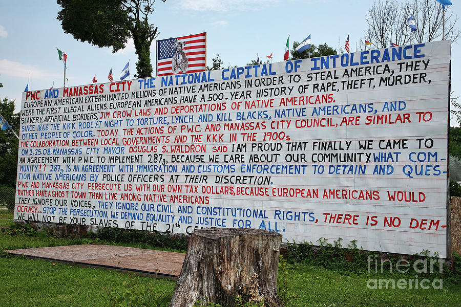 Flag Photograph - Immigrant Protest Sign In Manassas by William Kuta