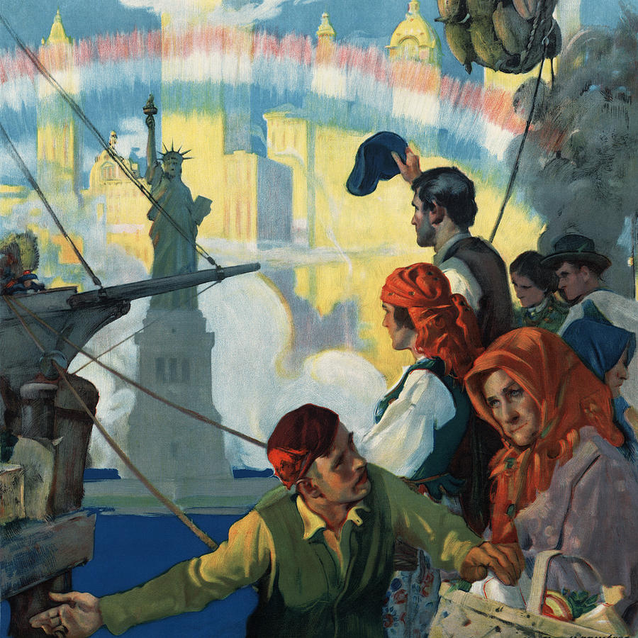Immigrants And The Statue Of Liberty Artwork Painting By