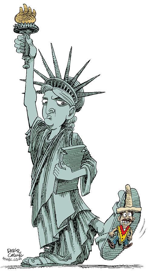 Illegal Immigration Drawing - Immigration and Liberty by Daryl Cagle