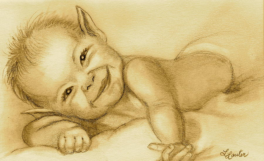 Baby Elf Drawing - Imp by L Lauter
