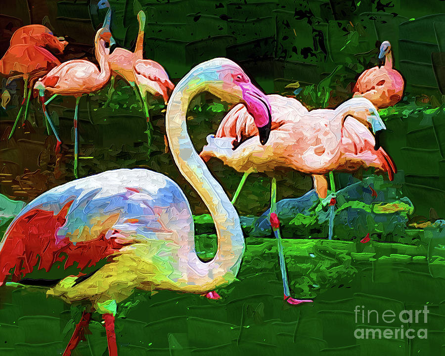 Impasto Flamingo Digital Art by Kirt Tisdale