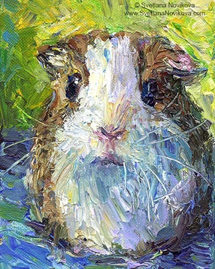 Guineapigs Photograph - Impasto Impressionistic  Guinea Pig Art by Svetlana Novikova
