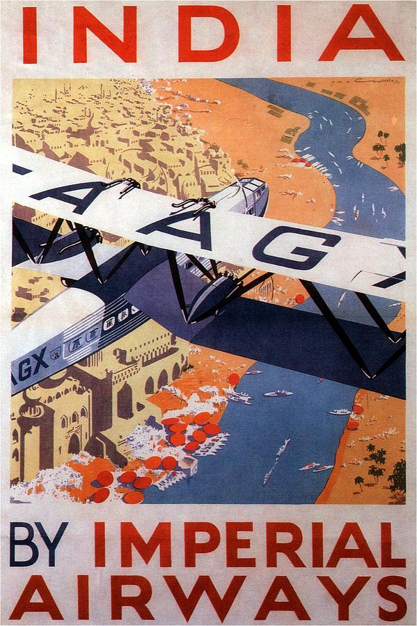 Imperial Airways Airplane Flying Over River Ganges In India - Vintage Travel Advertising Poster Painting
