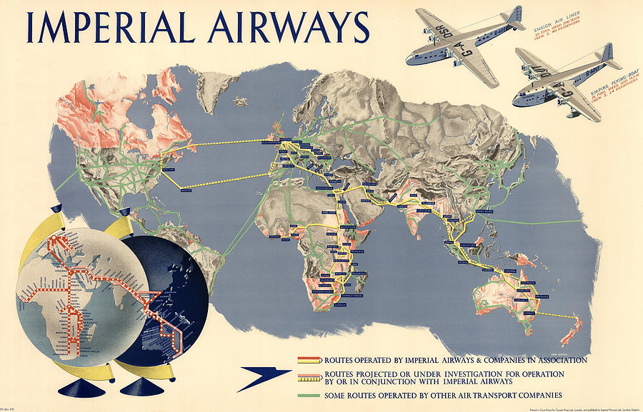 Imperial Airways - Vintage Travel Advertising Poster - World Map Mixed Media
