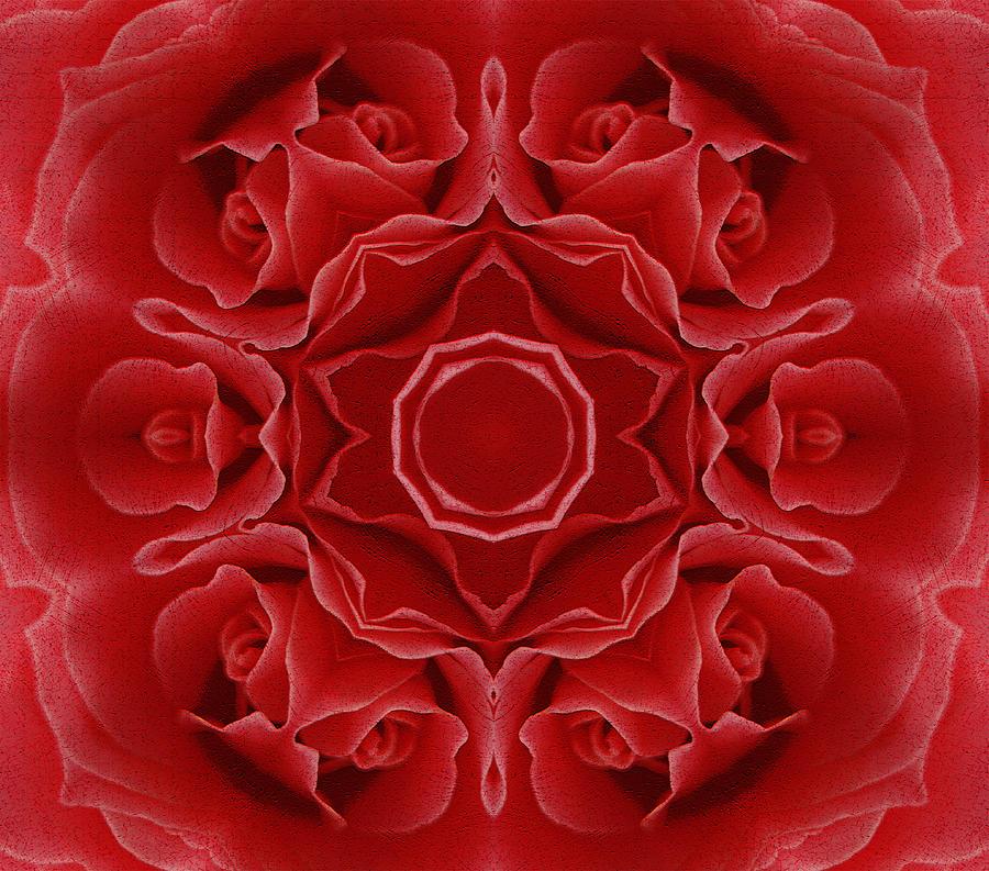 Abstract Mixed Media - Imperial Red Rose Mandala by Georgiana Romanovna