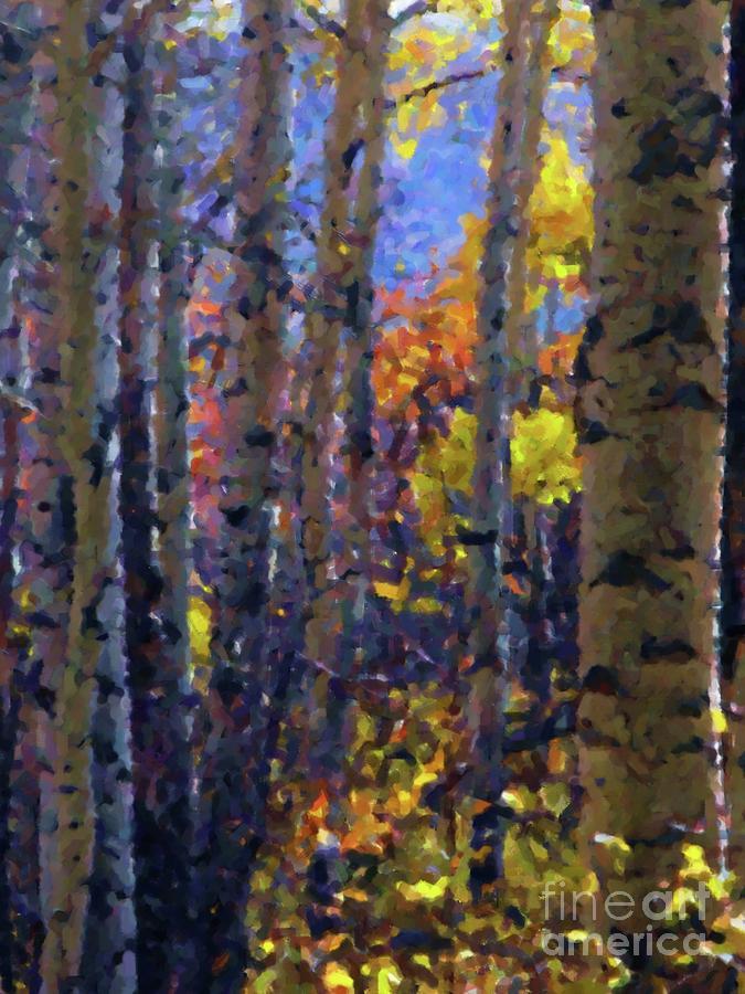 Impression Of Fall Aspens Digital Art by Annie Gibbons