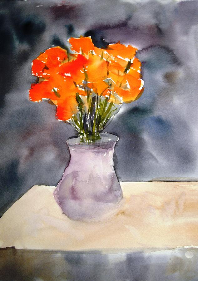 Watercolor Paintings Painting - Impression Of Flowers by Larry Hamilton