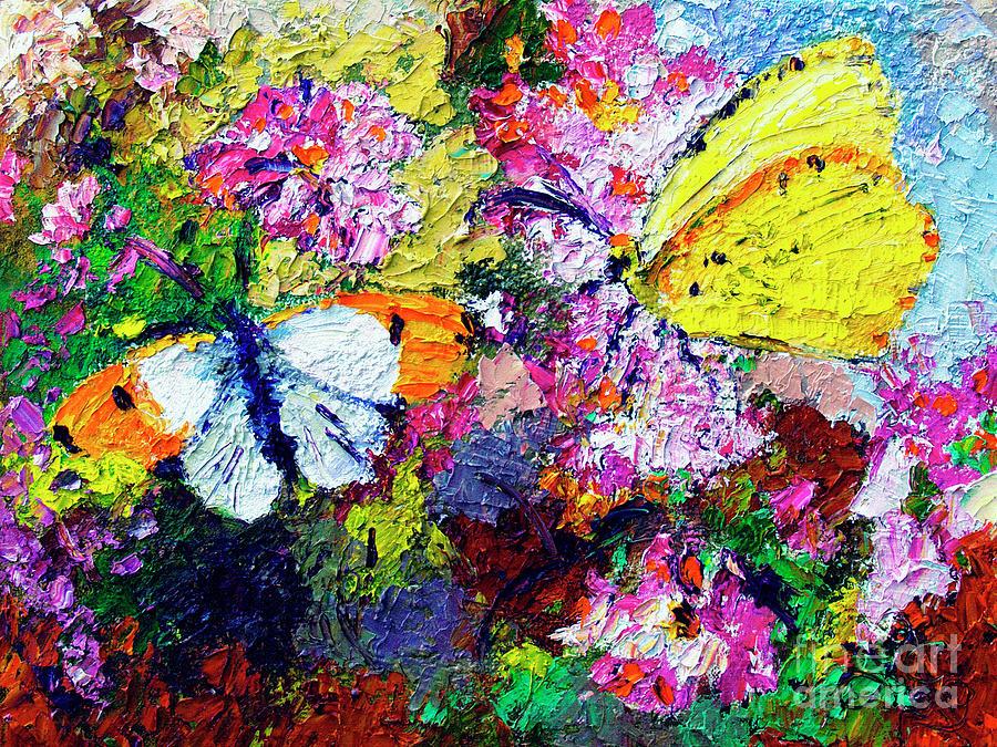 Impressionist Butterflies in Summer Garden by Ginette Callaway