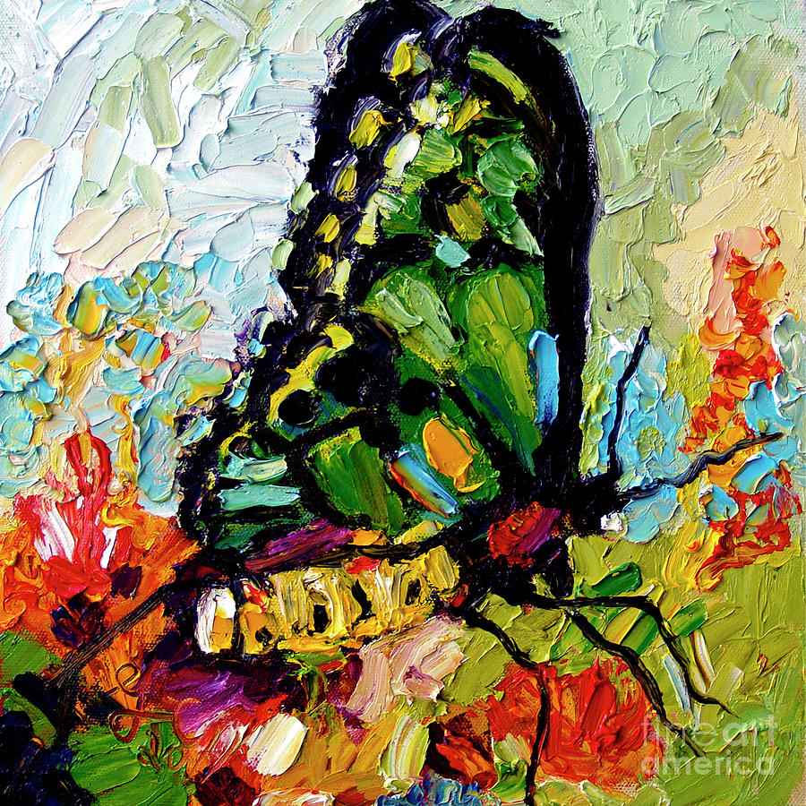 Impressionist Butterfly on Red Flowers by Ginette Callaway