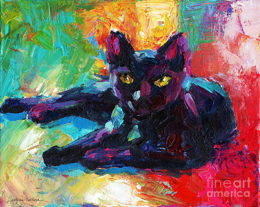 Black Cat Painting - Impressionistic Black Cat Painting 2 by Svetlana Novikova