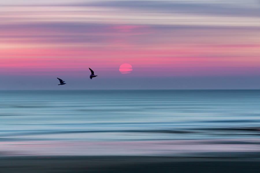Impressionistic Sunset at Widemouth Bay, Bude, Cornwall, UK.  by Maggie McCall