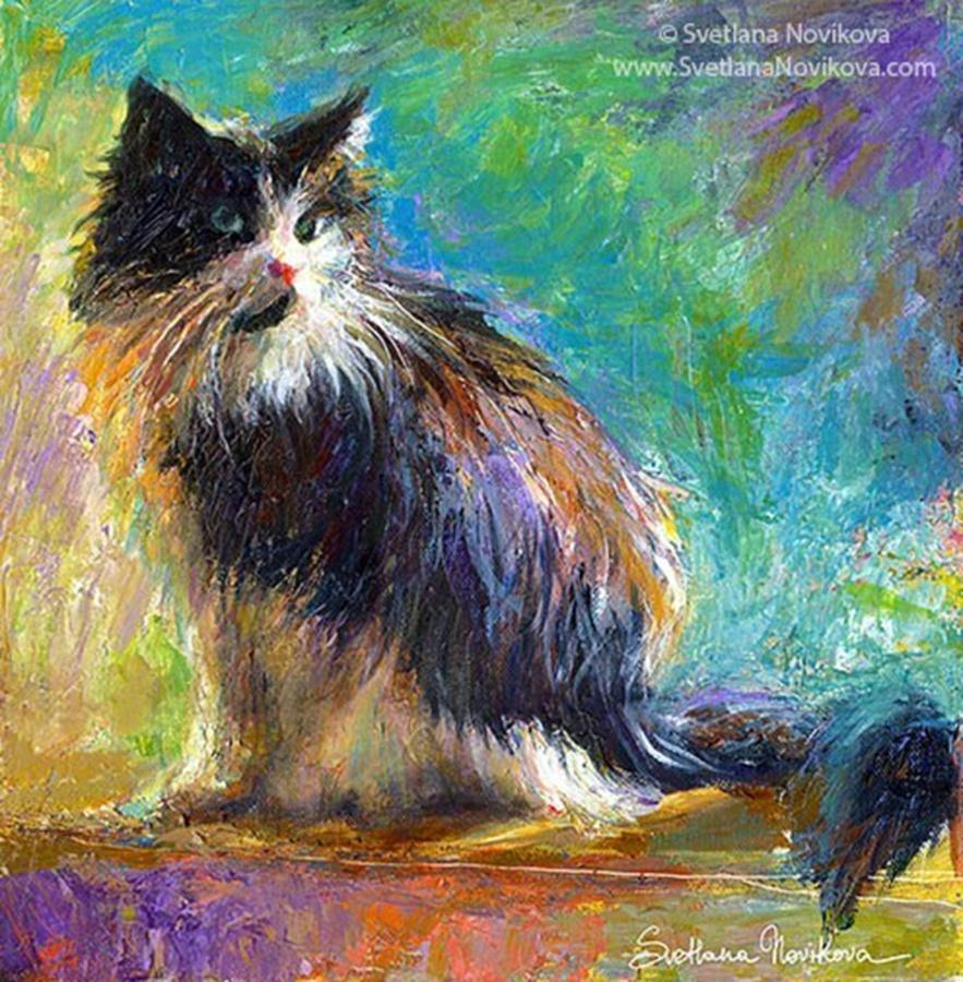 Color Photograph - Impressionistic Tuxedo Cat Painting By by Svetlana Novikova