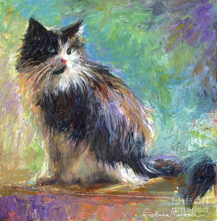 Tuxedo Cat Painting - Impressionistic Tuxedo Cat Portrait by Svetlana Novikova