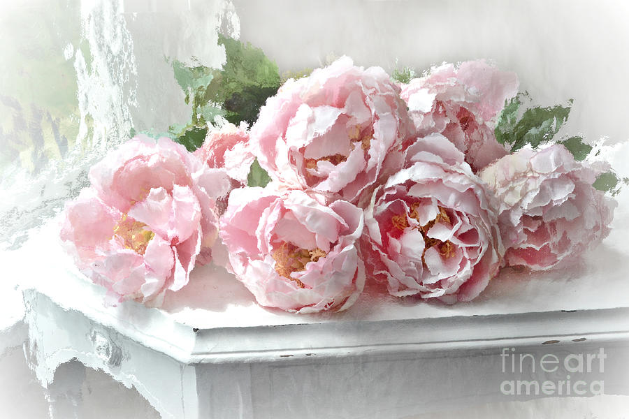 ... Romantic Shabby Chic Still Life Peonies Art Photograph by Kathy Fornal