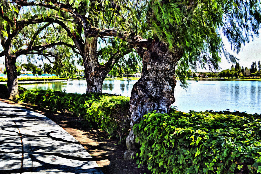 Lake Digital Art - Impressions From A Park - Three by Glenn McCarthy Art and Photography
