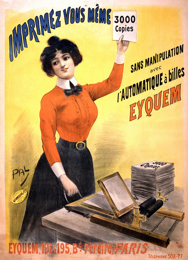 Imprimez Vous Meme - Girl With Printing Machine - Vintage Advertising Poster Mixed Media