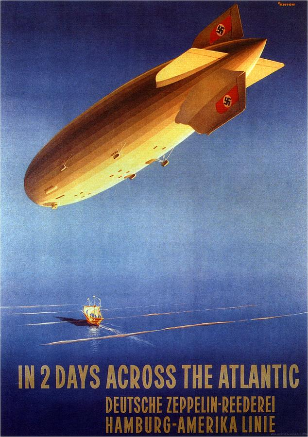 In 2 Days Across The Atlantic - Hamburg-amerika Line - Retro Travel Poster - Vintage Poster Mixed Media