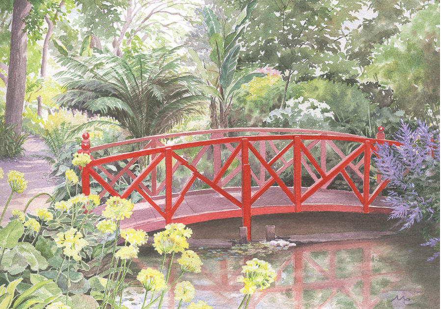 Landscape Painting - In Abbotsbury Subtropical Gardens. by Maureen Carter