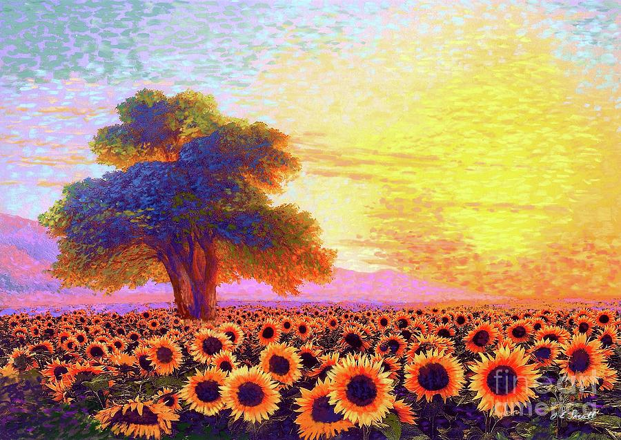 Floral Painting - In Awe of Sunflowers, Sunset Fields by Jane Small