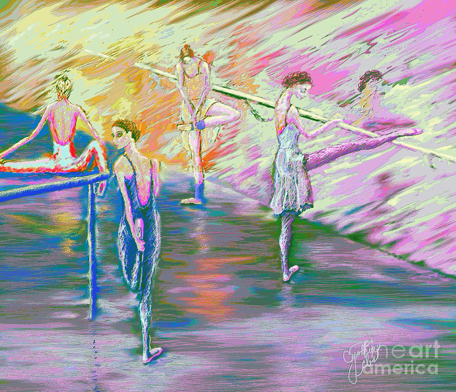 Ballet Dancers Digital Art - In Ballet Class by Cynthia Sorensen