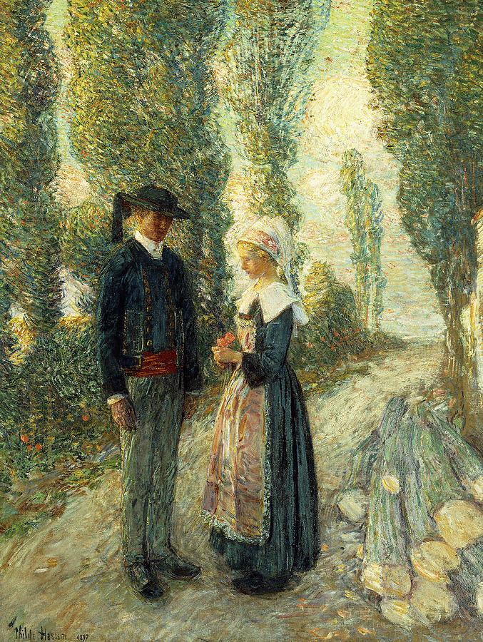 Hats Painting - In Brittany Evening Hour Pont Aven by Childe Hassam