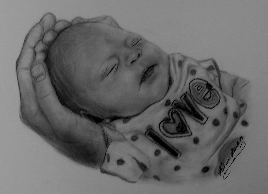 Drawing Drawing - In Daddys Hands by Allison Aldrich