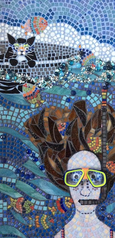 Figure Mixed Media - In Dreams Of Ricky Bobbie And Me In Cayman Islands by Anje Olmstead