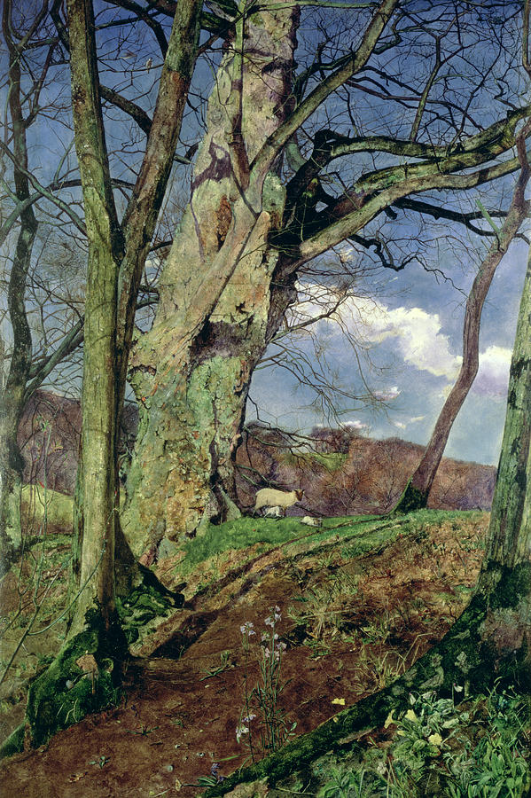 In Early Spring: A Study In March (oil On Canvas) By John William Inchbold (1830-88) Painting - In Early Spring by John William Inchbold