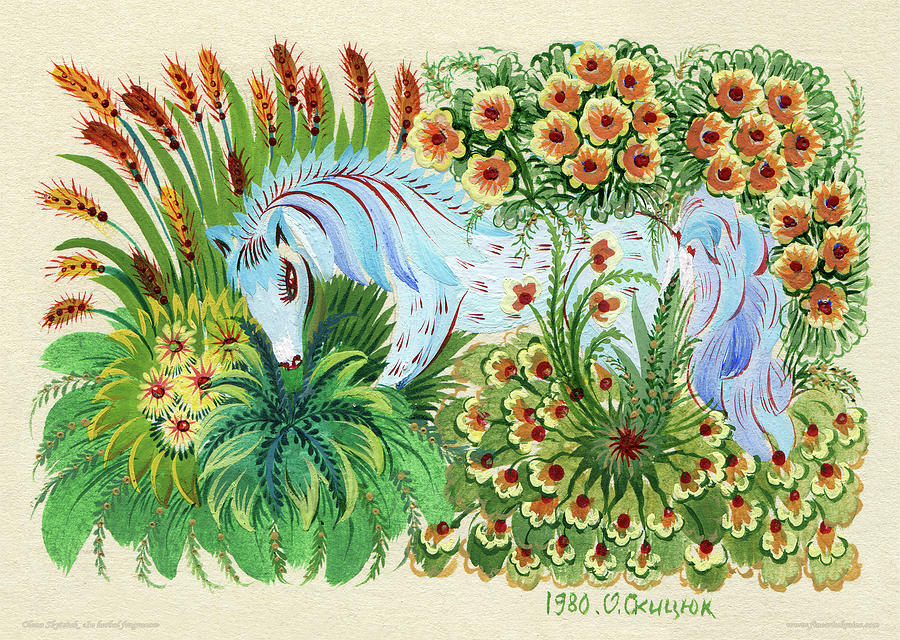 Horse Eating Grass Painting - In Fragrant Herbs by Olena Kulyk