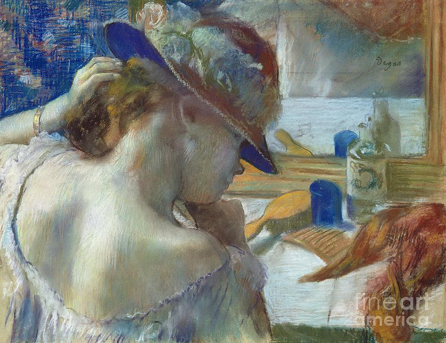 Front Painting - In Front Of The Mirror by Edgar Degas