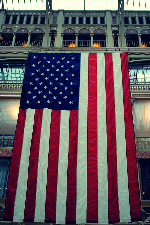Flag Photograph - In God We Trust American Flag Milwaukee Wi by Laura Pineda