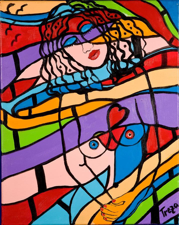 Woman Painting - In Harmony by Treza Bettencourt