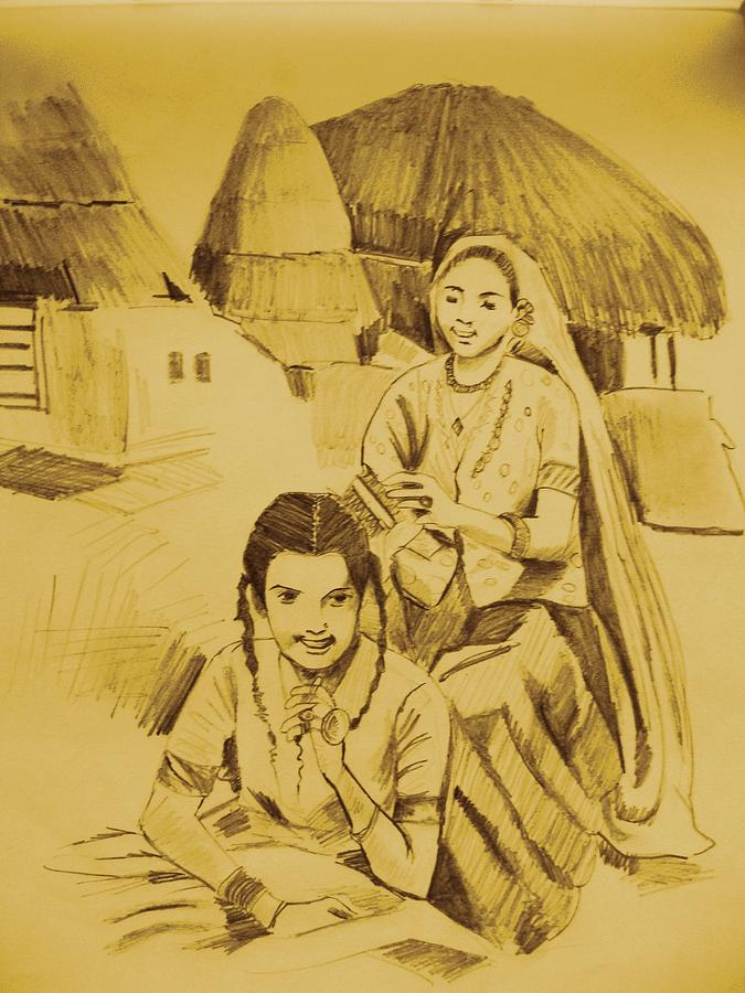 Women Drawing - In Her Company by Navjinder Kainthrai