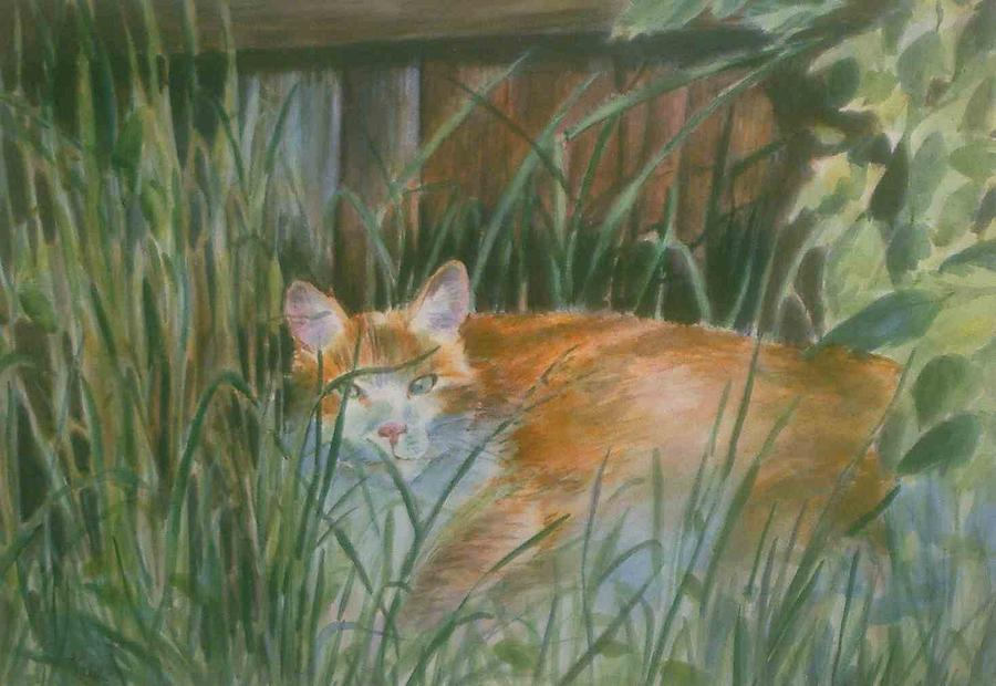 Cat Painting - In Hiding by Carol Kable