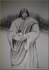 Jesus Drawing - In His Hands by Carlos Rosado