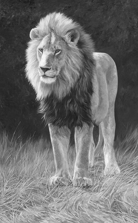 Lion Painting - In His Prime - Black and White by Lucie Bilodeau