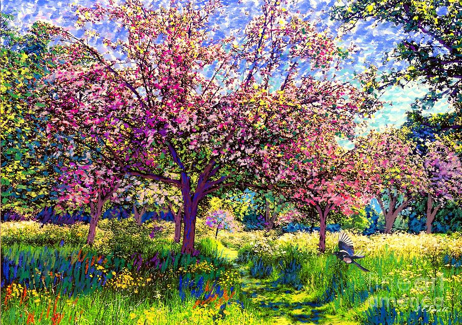 Floral Painting - In Love with Spring, Blossom Trees by Jane Small