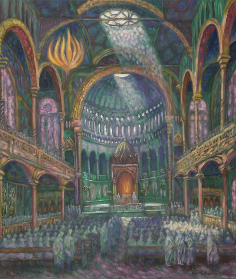 Berlin Painting - In Memory Of The Destroyed Berlin Synagogue by Edward Tabachnik