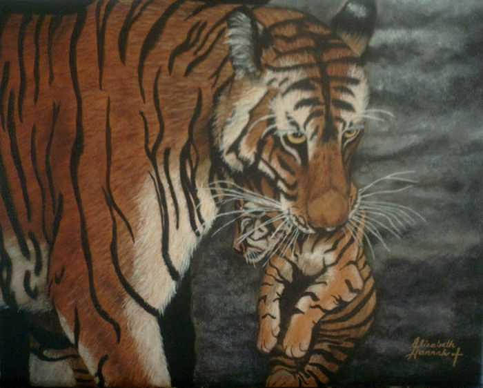 Tiger Painting - In Mother by Elizabeth Hannah