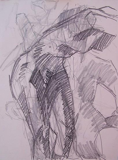 Figure Study Drawing - In Motion by Charles Peck