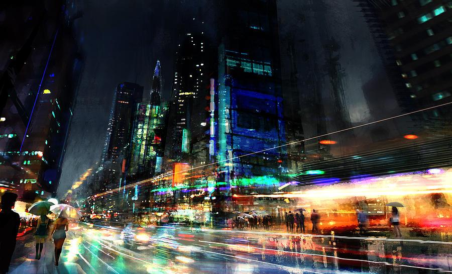 City Digital Art - In Motion by Philip Straub