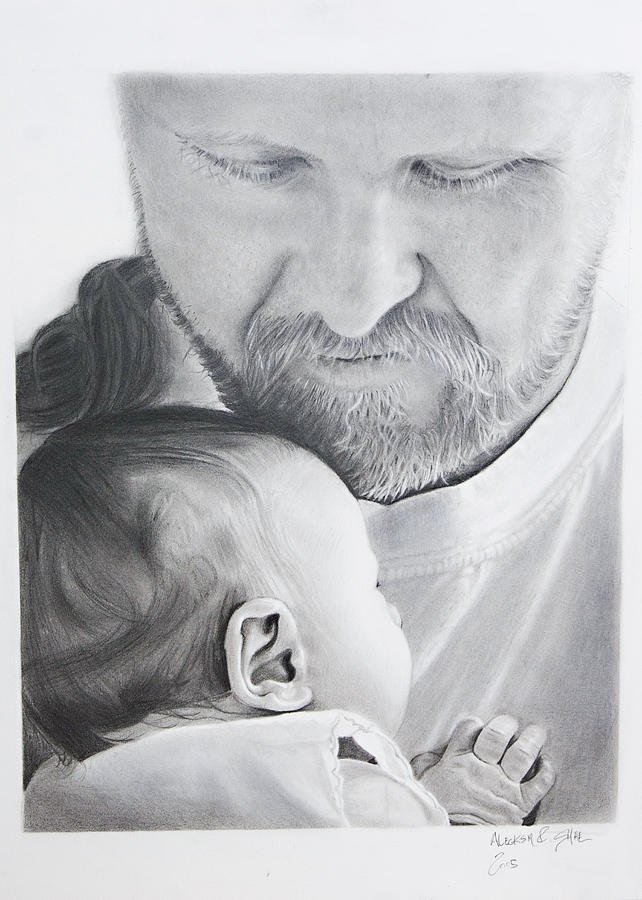 Charcoal Painting - In my arms by Raymond Potts