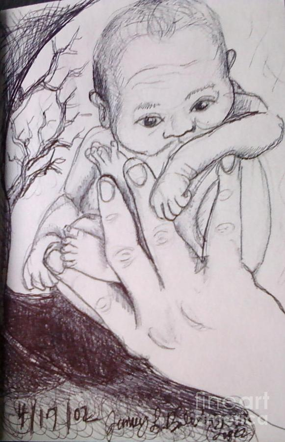 Ink Pen Drawing - In My Fathers Hand by Jamey Balester