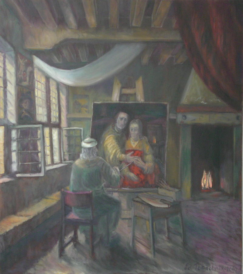 Rembrandt Painting - In Rembrandt Studio. Selfportrait. The Jewish Bride. by Edward Tabachnik