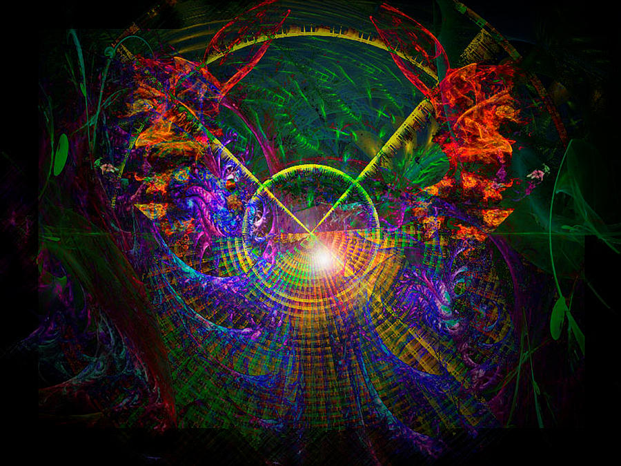 Garden Digital Art - In Search Of Cosmic Pi 3.14 by ReeNee Cummins