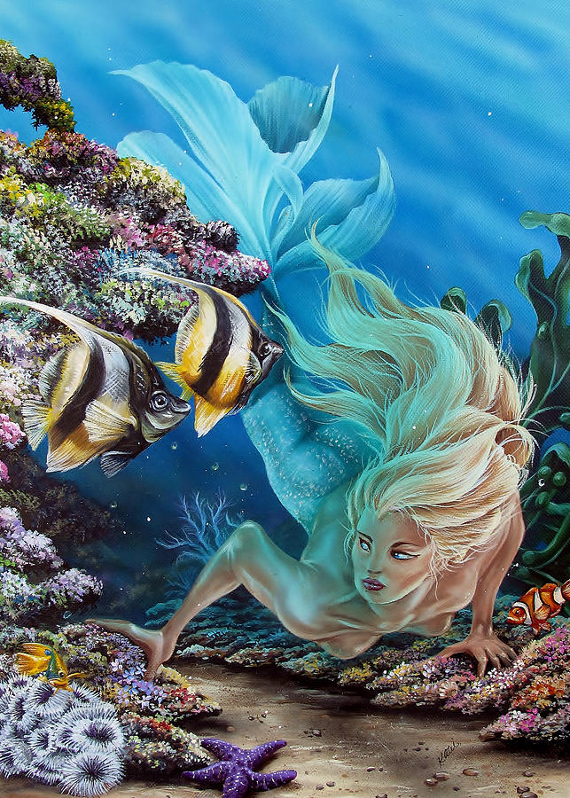 Mermaid Painting - In Search Of... by Katie McConnachie