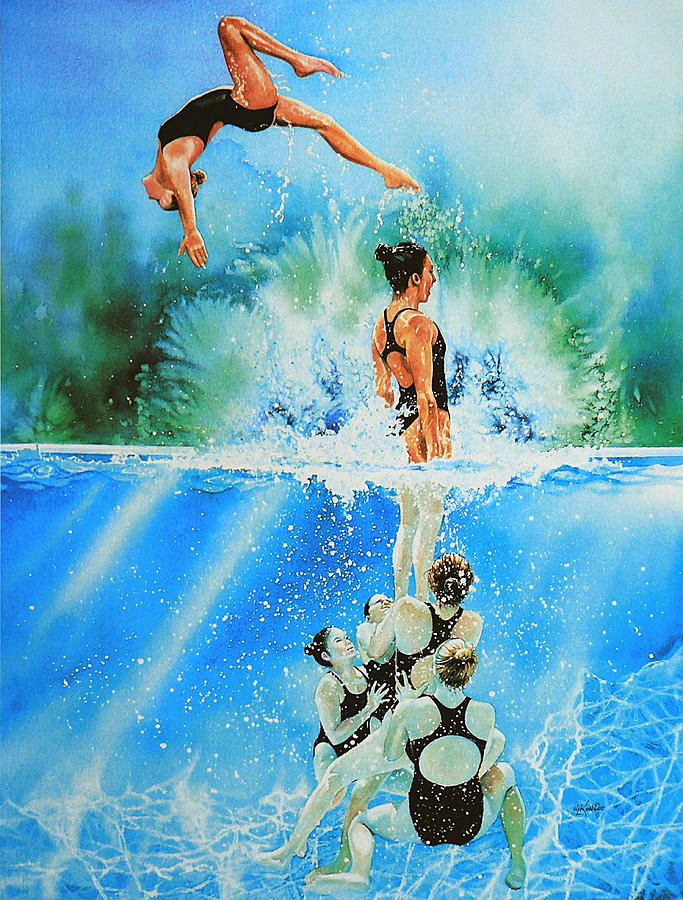 Swimming Painting - In Sync by Hanne Lore Koehler